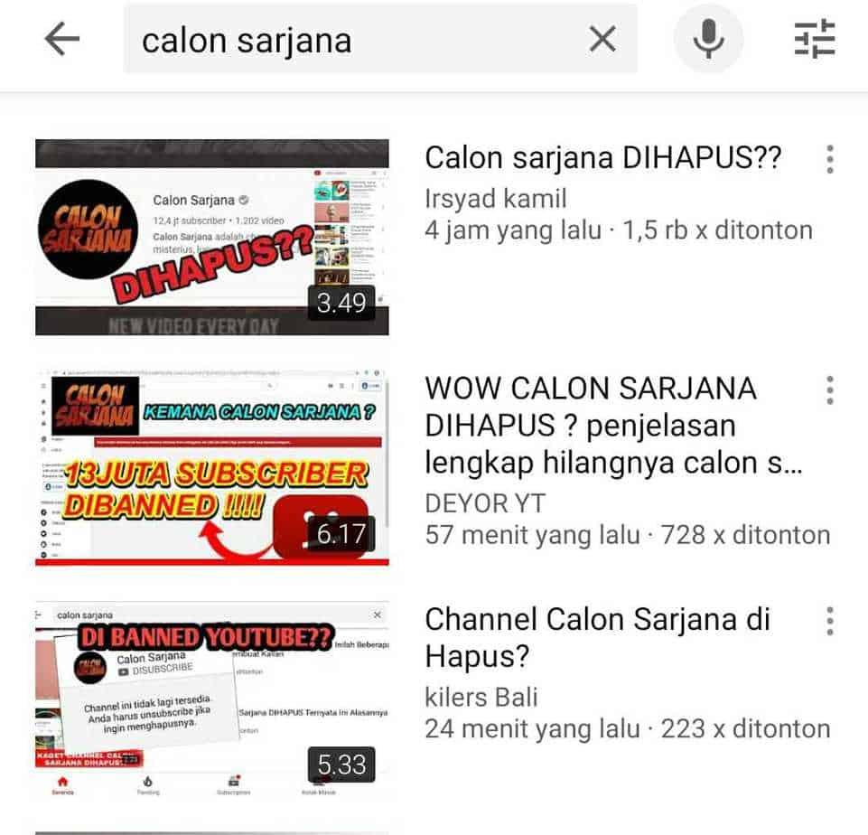 Fakta Channel Youtube Calon Sarjana Dihapus Oleh Youtube