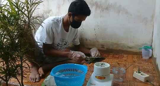 Abdimas Mahasiswa UTM Di Jepara Membuat Hansanitizer Dari Lidah Buaya Untuk dibagikan ke warga