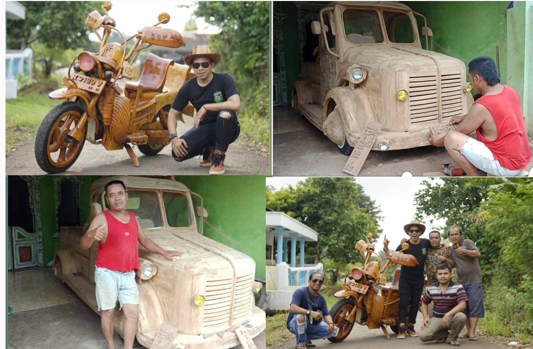 Keren Tukang Kayu di Jepara Membuat Motor dan Mobil dari Kayu Jati